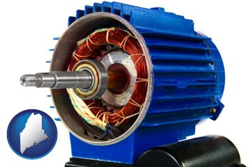 an electric motor - with Maine icon