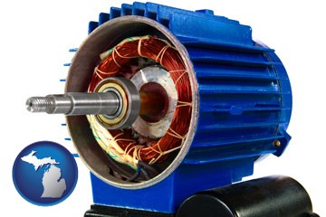 an electric motor - with Michigan icon