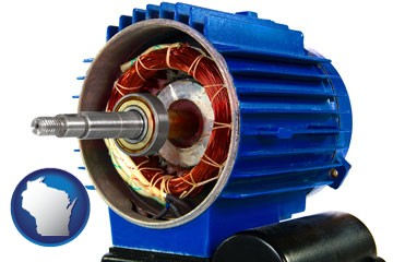 an electric motor - with Wisconsin icon